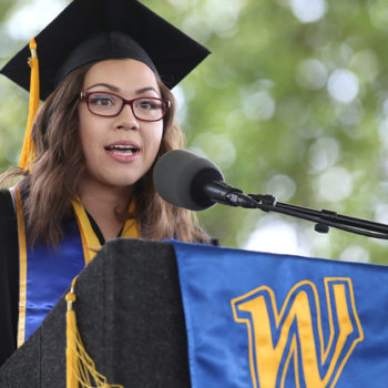 Associated Students of Western Nevada President Andrea Senda speaks at the 45th annual Western Nevada College Commencement ceremony