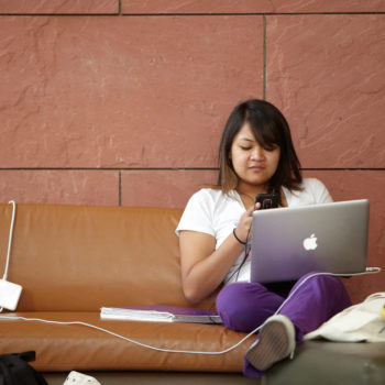 A student studies at UNLV