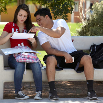 Students on campus at UNLV for the first day of classes