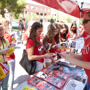 Students on campus during the first day of the fall semester on August 26, 2013