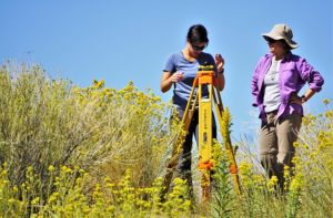 Desert Research Institute scientist Gabrielle Boisrame, Ph.D., (left) and graduate research assistant Rose Shillito from the University of Nevada, Las Vegas (right) survey a site prior to installing scientific equipment at The Nature Conservancy's 7J Ranch on September 18, 2019. Credit: Ali Swallow/DRI.