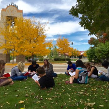 Students study outdoors at GBC