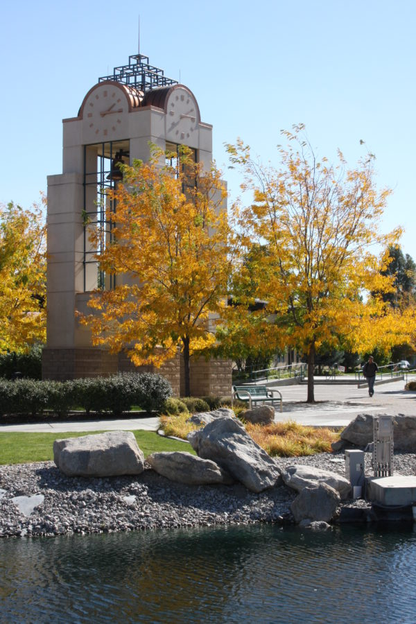 The clock on the campus of GBC