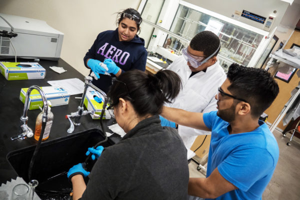 Students perform lab work at NSC