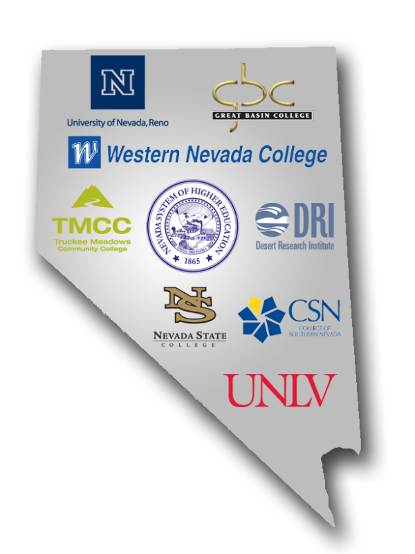 Map of Nevada with institution logos