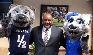 Speaker Frierson pictured with the UNR mascots.