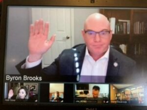 Regent Byron Brooks being sworn into office during a virtual ceremony on January 15, 2021.