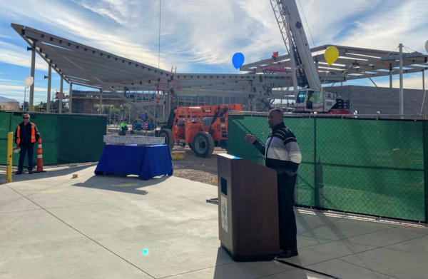 Assemblyman Tyrone Thompson at CSN North Las Vegas Student Union topping off ceremony