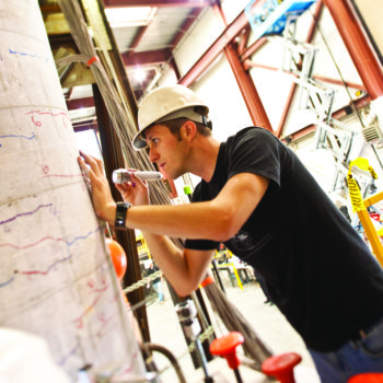 A student performs Earthquake Engineering Research