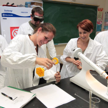 Pre-nursing students work on a polarimeter in a human anatomy and physiology class at Western Nevada College