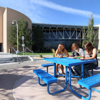 Jessie Harrison, Carlie Callahan and Lauren Knorzer on the Western Nevada College campus