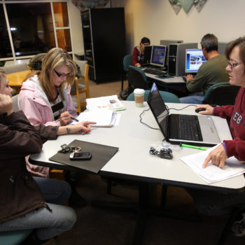 Students work in the commons area of the Douglas campus of Western Nevada College