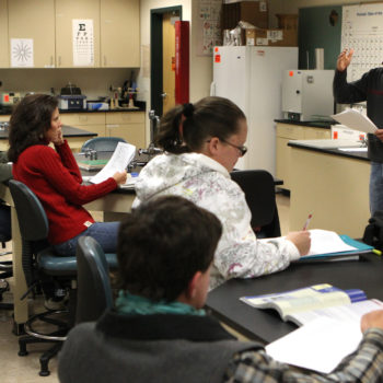 An instructor teaches at the Douglas campus of Western Nevada College